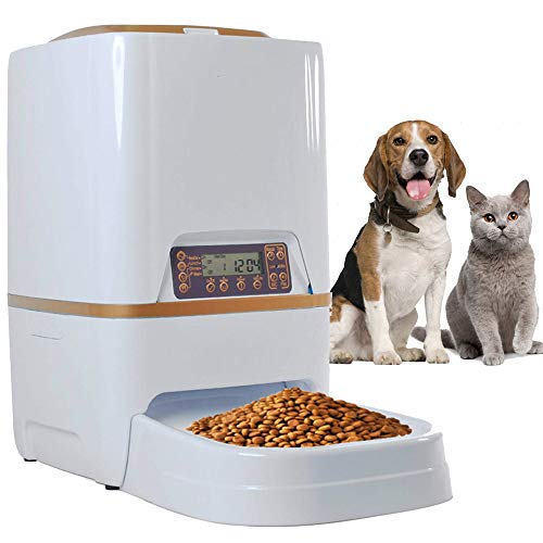 Homdox Automatic Pet Feeder Food Dispenser 4 Meal for Cat Dog Timer Programmable for Small Middle Big Size Pet Cat Dog (6L White) 1