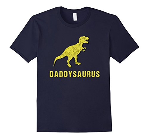 Mens Daddysaurus Shirt Funny Fathers Day Gift from Kids Toddler Medium Navy