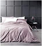 Solid Color Egyptian Cotton Duvet Cover Luxury Bedding Set High Thread Count Long Staple Sateen Weave Silky Soft Breathable Pima Quality Bed Linen (Queen, Mauve)