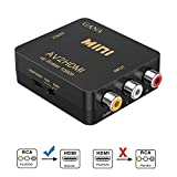 RCA to HDMI, AV to HDMI,GANA 1080P Mini RCA Composite CVBS AV to HDMI Video Audio Converter Adapter Supporting PAL/NTSC with USB Charge Cable for PC Laptop Xbox PS4 PS3 TV STB VHS VCR Camera DVD