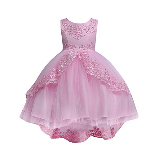 Kids Toddler Baby Girls Dresses Sleeveless Solid Lace Print Princess Party Formal Clothes (Size:4T, Pink)