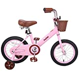 JOYSTAR 14 Inch Kids Bike for 3 4 5 Years Old Girls, Kids Bicycle with Front Basket & Training Wheels for 3-5 Years Child, Pink