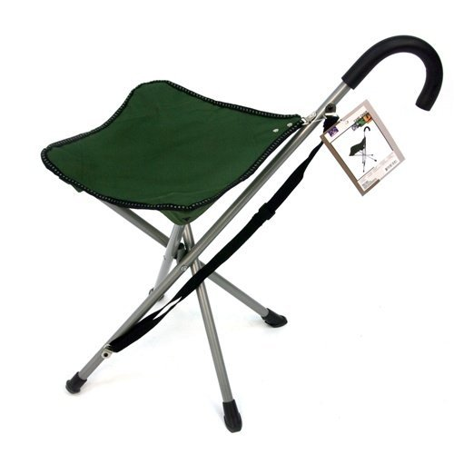 Mac Sports Folding Cane Chair - Walking Stick with Stool