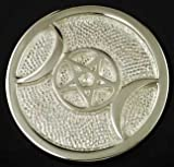 New Age Small Silver Plated Triple Moon Altar Tile