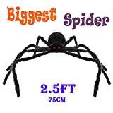 Halloween Decorations 2.5 Ft. Giant Halloween Spider Black Spider 75cm Large Spider Haunted House Prop Plush Spider Scary Decoration, Virtual Realistic Hairy Spider, Black (75cm Spider)