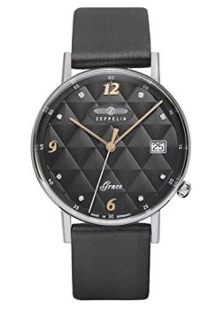 Zeppelin Grace Lady Black Dial Stainless Steel Women's Watch 7441-2