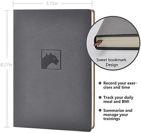 Evolway Fitness Journal and Planner,100 Days Diet and Workout Log, Gray Panther/Yellow Flash/Purple Lotus Design, Leather Cover, Sturdy Binding, Thick Pages & Laminated 4