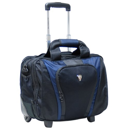 CALPAK Persuader2 Navy Blue 17-inch Deluxe Rolling Laptop Soft Briefcase