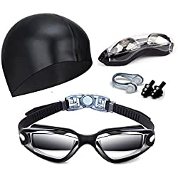 Hurdilen Swim Goggles, Swimming Goggles Anti-Fog UV Protection Coated Lens No Leaking with Nose Clip, Earplugs, Case for Men Women Adult Youth Kids (Black(with Cap))