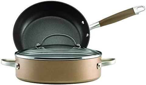 Anolon Advanced Hard Anodized Nonstick Cookware Pots and Pans Set, 3 Piece, Bronze