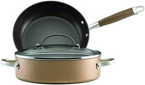 Anolon Advanced Hard Anodized Nonstick Cookware Pots and Pans Set, 3 Piece, Bronze