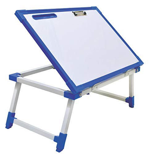 Iconic Multi Purpose Foldable Laptop Study Writing Bed Breakfast Tray Table for Children with Whiteboard Paper Holding Clip (Blue) 197