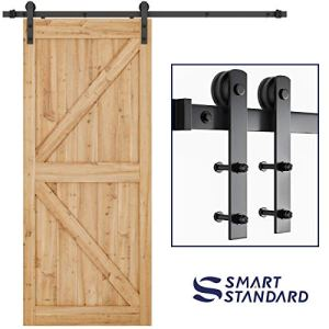 SMARTSTANDARD 6.6ft Heavy Duty Sturdy Sliding Barn Door Hardware Kit -Smoothly and Quietly -Easy to install -Includes…