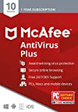 McAfee AntiVirus Plus, 10 Device, Internet Security Software, 1 Year Subscription- [Key card]- 2020 Ready