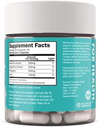 Genesis Today Weight Control Dietary Supplement, 500mg of Green Tea and 425mg of Ginger Root Per Serving, 90 Vegetarian Capsules 2