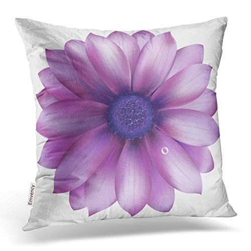Emvency Decorative Throw Pillow Cover Case for Bedroom Couch Sofa Home Decor Pillow Case Lilac Flower with Water Drop Square 20x20 Inches Purple Flowers Pillowcase