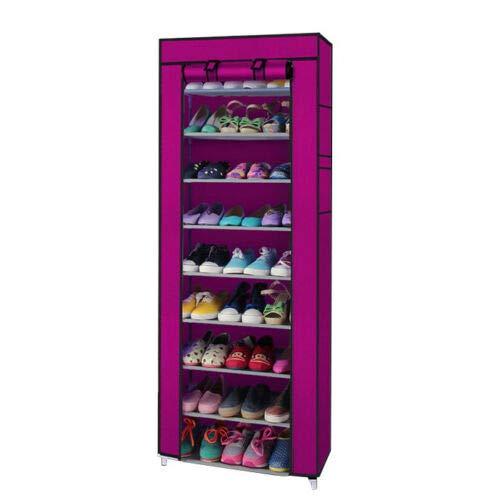 10 Layer 9 Grid Shoe Rack Shelf Storage Closet Organizer Cabinet Wine Red by SHG