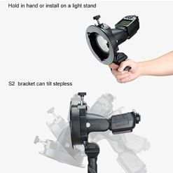 Godox-S2-Speedlite-S-Type-Bracket-Bowens-Mount-Flash-Holder-for-Godox-V1-AD200Pro-AD400Pro-AD200-and-other-Flashes-Precise-Tilt-Control-Large-Handle-Integrated-Umbrella-Mount-with-Pergear-Diffusers