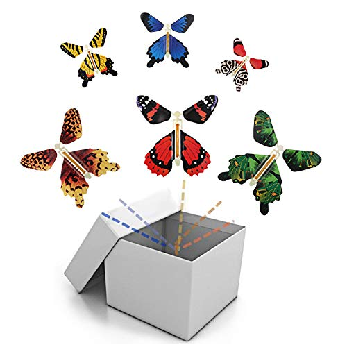 B.FY Magic Flying Butterfly Wind Up Toys GagGiftsforKids Colorful Butterfly in Greeting Card Books for Wedding Party (5 Pcs)