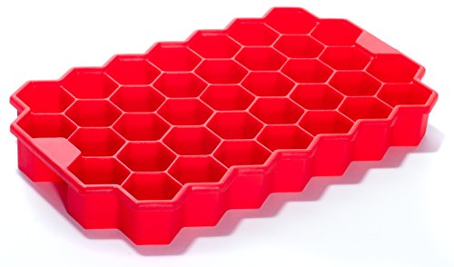 Silicone Ice Cube Tray Deeer - 37 pcs Cute Hex Shape Ice Brick Maker (Red)