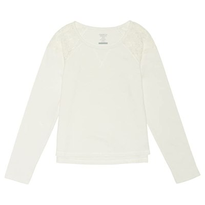 French Toast Little Girls' Lace Shoulder Sweatshirt,Off White,5