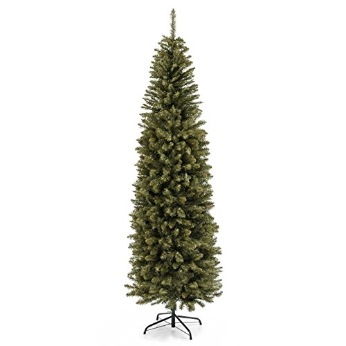 Best Choice Products 7.5ft Premium Hinged Fir Pencil Artificial Christmas Tree w/Foldable Stand, Easy Assembly - Green
