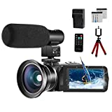 Video Camera 1080P Camcorder CofunKool Vlogging Camera for YouTube, 24.0MP 3.0' IPS Screen IR Night Vision, with Microphone Wide Angle Lens Remote Control Battery Charger Mini Tripod, 2 Batteries