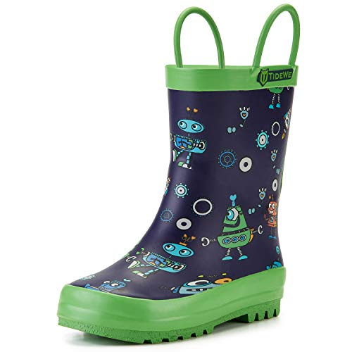 TideWe Rain Boots for Kids and Toddlers, Children Natural Rubber Rain Boots with Easy-On Handles, Waterproof Lightweight Kids Rain Boots in Fun Patterns for Boy and Girls (Robot Size 9T)