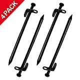 EXPLOMOS Tent Stakes, Heavy-Duty Steel Solid Tent Stakes Pegs for Outdoors Mountain-Climbing/Camping Hiking with Metal Stopper (4-Pack)
