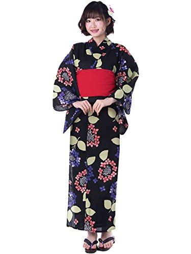 KYOETSU Women's Cute Yukata 3 Piece Set (Yukata/Obi/Geta sandals) (X-Small (Japan Size L), FM-8(Obi Red))