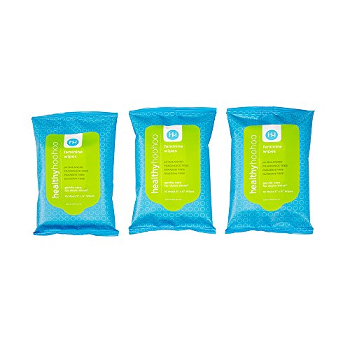 healthy hoohoo All Natural Gentle Femine Wipes Travelpack (3 Packs, 30 Wipes)