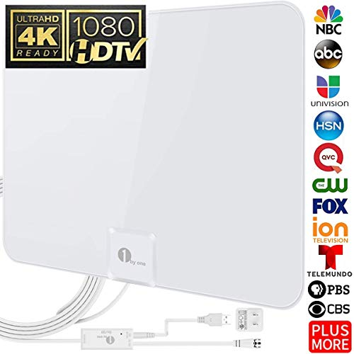 [Upgraded 2019] 1byone Digital Amplified Indoor HD TV Antenna, 50-85 Miles Range Amplifier Signal Booster Support 4K 1080P UHF VHF Freeview HDTV Channels, 20ft Coax Cable