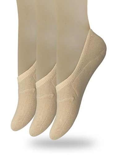 Eedor Women's 3 Pack Thin Casual No Show Socks Non Slip Flat Boat Line Large Beige