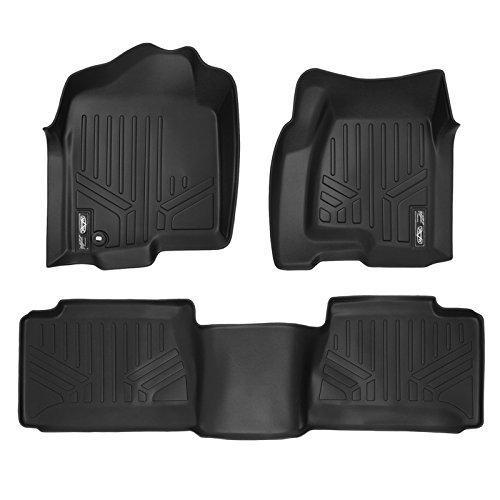 SMARTLINER Floor Mats 2 Row Liner Set Black for 2001-2007 Silverado/Sierra 1500/2500/3500 Extended Cab Classic Body Style