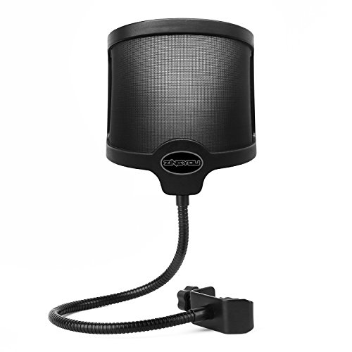 ZINGYOU PF-101 Microphone Pop Filter, Studio Recording Pop Shield, Mic Windscreen with Dual Screen, Metal and Nylon Mesh