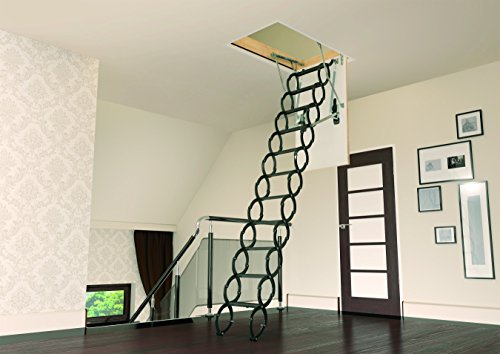FAKRO LST  66875 Insulated Steel Scissor Attic Ladder for 22-Inch x 31-Inch Rough Openings