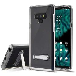 AMZER Ultra Slim Crystal Clear Case Back TPU Hard Bumper Cover with Magnetic Metal Stand Skin for Samsung Galaxy Note9, Samsung Galaxy Note 9 - Silver/Clear Note 9 Case with Kickstand
