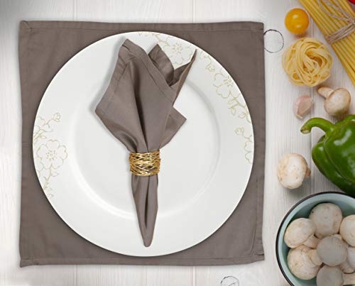 Cloth Napkin In Solid Plain Cotton Fabric-18X18 Khaki Linen, Wedding Napkins,Cocktails Napkins,Fabric Napkins,Cotton Napkins Mitered Corners & Generous Hem, Machine Washable Dinner Napkins Set of 12