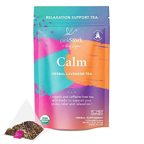 Pink Stork Calm Tea: Lavender Herbal Tea, 100% Organic, Stress Relief + Relaxation + Sleep Aid with Dandelion + Calming…