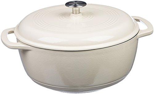 AmazonBasics Enameled Cast Iron Covered Dutch Oven, 7.5-Quart, White