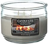 Candle-Lite Everyday Scented Evening Fireside Glow 3-Wick Jar Candle, 10 oz, Gray