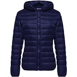Wantdo Women's Hooded Packable Ultra Light Weight Down Coat Short Outwear(Navy,US Large)
