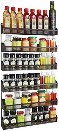 2 Pack- Simple Trending 3 Tier Spice Rack Organizer, Wall Mounted Spice Shelf Storage, Bronze