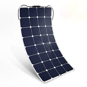 BougeRV 100W 18V 12V Solar Panel Charger SunPower Cell Flexible Ultra Thin with MC4 Connector Charging for RV Travel Trailer Van Truck Car SUV Pontoon Boat Cabin Tent – Compatibility with 18V or Below