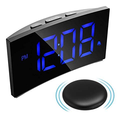 PICTEK Wireless Bed Shaker Alarm Clock for Heavy Sleeper, Vibrating Digital Alarm Clock for Bedroom, 3 Alarm Sound, 5'' LED Display, 5 Dimmer, Snooze, Easy Setting Bomb Clock for Kid Senior Deaf