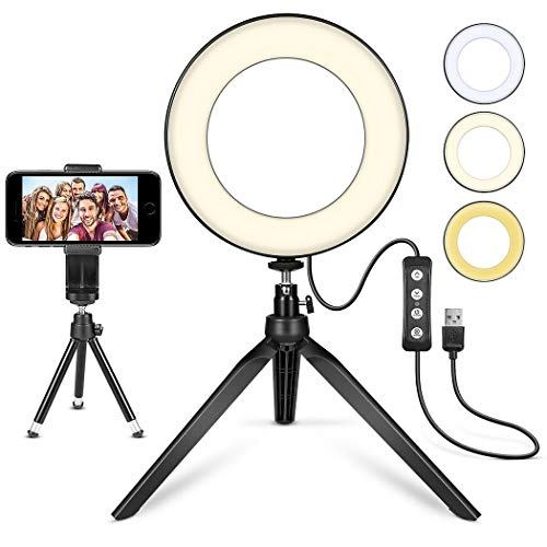 LED Ring Light 6' with Tripod Stand for YouTube Video and Makeup, Mini LED Camera Light with Cell Phone Holder Desktop LED Lamp with 3 Light Modes & 11 Brightness Level (6')