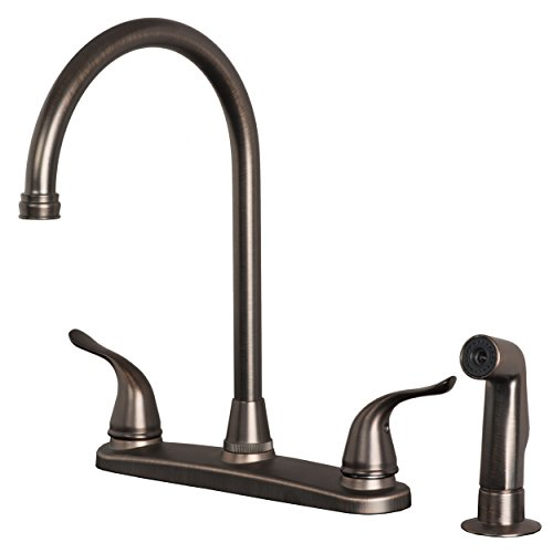 Builders Shoppe 1210BZ Two Handle High Arc Kitchen Faucet with Spray Brushed Bronze Finish