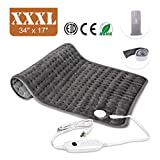 Heating Pad, Ultra-Large Heating Pads for Back Pain Auto Shut Off, Fast Heating Technology, Six Heat Settings, Machine-Washable, Micro Plush/Soft Touch, Elastic Band and Storage Bag Included