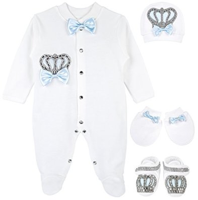 5c108daaf15d Lilax Baby Boy Jewels Crown Layette 4 Piece Gift Set 0-3 Months Blue