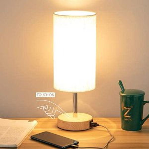 Bedside Lamp with USB port – Touch Control Table Lamp for Bedroom Wood 3 Way Dimmable Nightstand Lamp with Round Flaxen Fabric Shade for Living Room, Kids Room, College Dorm, Office(LED Bulb Included)